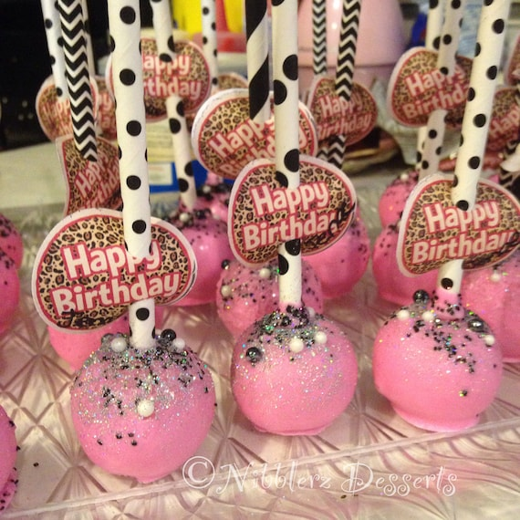 12 Diamonds And Pearls Birthday Pink Black Designer Cake Pops With Happy Flag