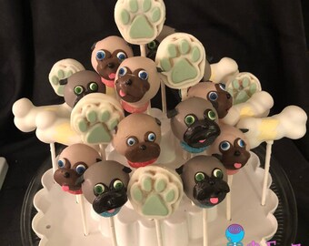 12 Puppy Dog Pals, cake pops collection, Pug Life,  Disney, Bingo and Rolly