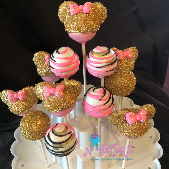 12 Gold And Pink Minnie Mouse Cake Pop Assortment Etsy