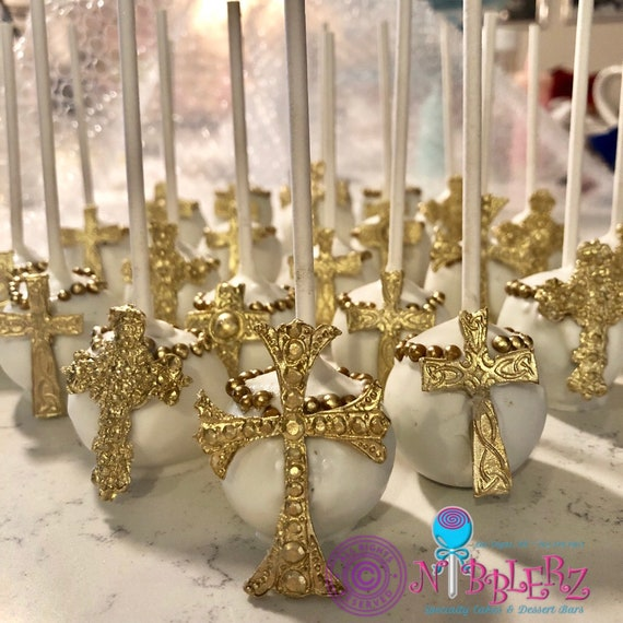 Single Gold Cross Cake Pops Gifts With Tag First Communion Baptism