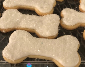 12 DOG BONE iced sugar cookies, for Doggies Best Friend - YOU