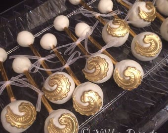 12 GOLD and WHITE Baby Rattles, Baby Rattle cake pops, Baby shower,
