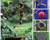 """Blue or Green Wine Bottle Hummingbird Feeder ~ """"The Tavern"""" - with 2 tube adapers. - one with red flower, one with red tip / ball bearing"""