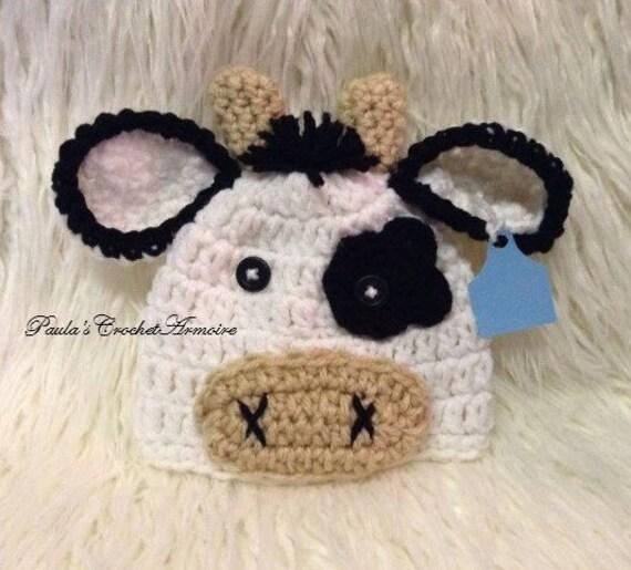 Cow crochet cow cow beanie hat  bcffae33e40