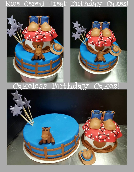 Cakeless Birthday Cake Western Cowboy Themed Made From Rice Etsy