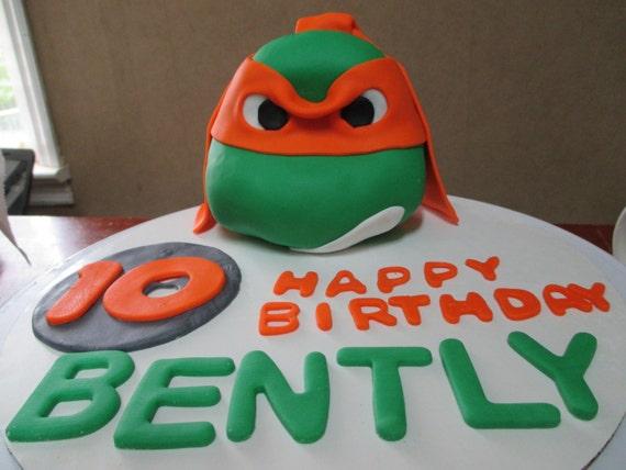 Outstanding Handmade Edible Fondant Teenage Mutant Ninja Turtle Birthday Etsy Personalised Birthday Cards Cominlily Jamesorg