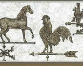 WEATHERVANE Wallpaper Border Horse, Rooster, Train Brown Gray VINTAGE FK71400 Antiqued Marbled Background, Locamotive, Chicken