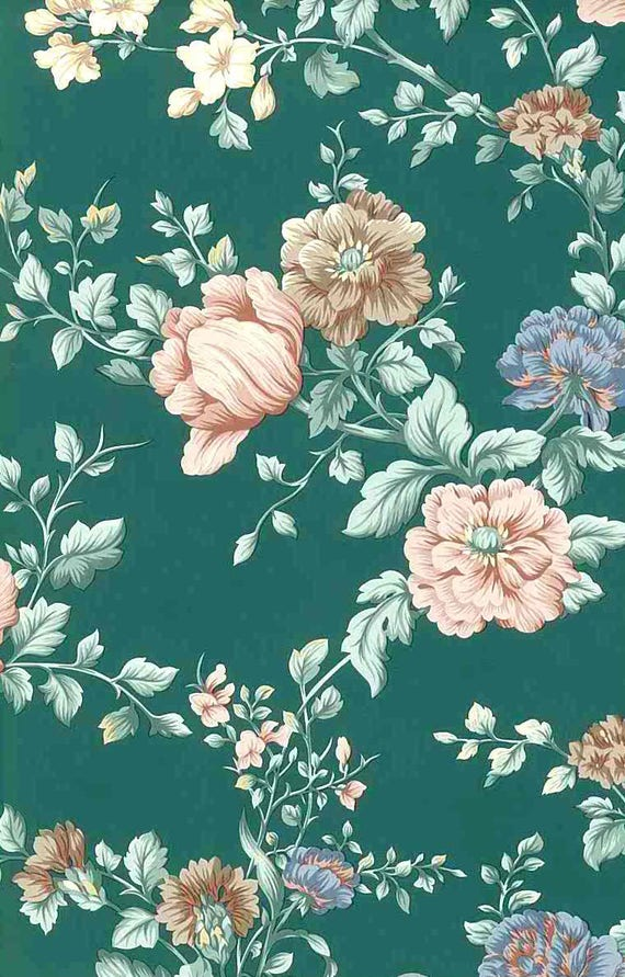 Green Floral Vintage Wallpaper Peach Pink Blue 24719 English Cottage Double Rolls