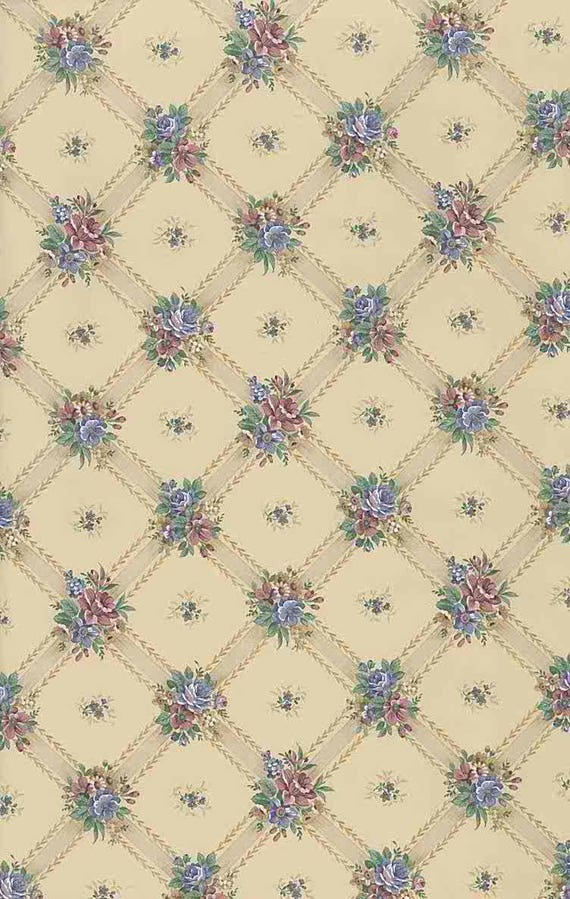 Lattice Floral Vintage Wallpaper Beige Blue Rose Green Cottage UK 72342  Double Rolls