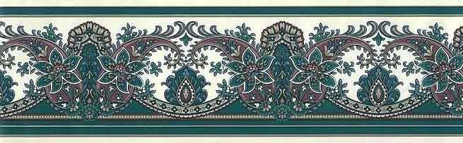 Purple PAISLEY Scrolls Wallpaper Border VINTAGE RED8061 Green Cream Damask Floral Eggplant Lush Stylized