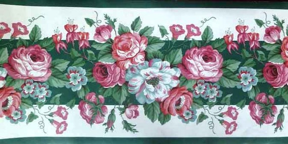 Pink Green Floral Wallpaper Border Roses By Waverly 561801 On Etsy