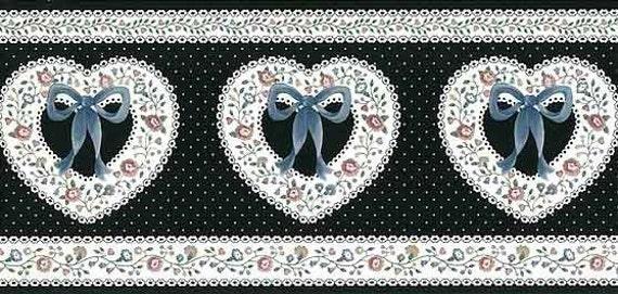 Cintas De Corazones Blanco Negro Vintage Wallpaper Frontera Etsy
