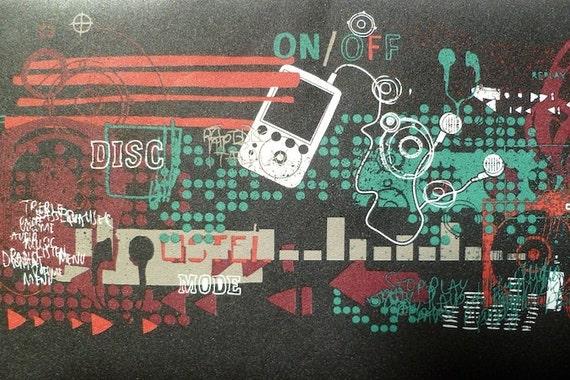 Black Red MUSIC Wallpaper Border Digital Music Technology In
