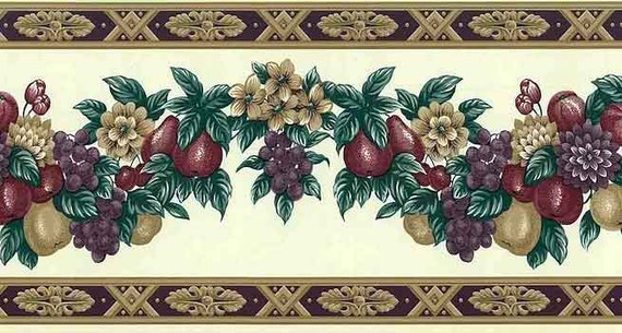 PURPLE DAISIES WITH GREEN LEAVES ON TAUPE AND CREAM WALLPAPER BORDER