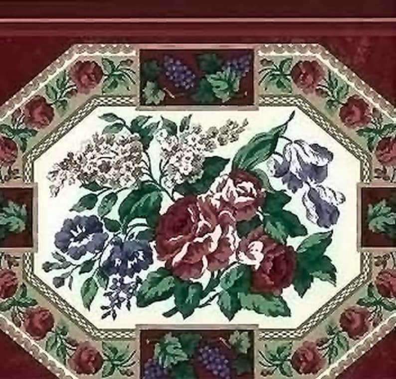 Cranberry Floral Wallpaper Border Plate Pitcher Waverly Etsy