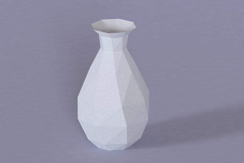 image regarding Vase Template Printable called Printable Do-it-yourself template (PDF). Vase lower poly paper fashion v1. 3D paper vase. Origami.