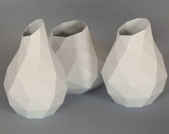 Printable DIY template (PDF). Vase low poly paper model. 3D paper vase. Origami.