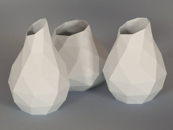 Printable Diy Template Pdf Vase Low Poly Paper Model 3d Etsy