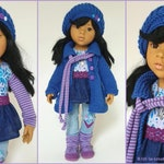 Doll clothes 50 cm, Götz, HANNAH, 8 pieces set - blue purple light blue - doll outfit, UNIKAT, doll clothes set