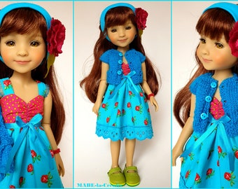 Doll clothes Ruby Red, set BELLA, turquoise pink apple green, UNIQUE