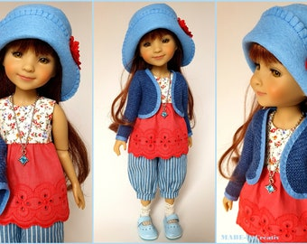 Doll clothes Ruby Red, Set BELLA, blue red, UNIQUE