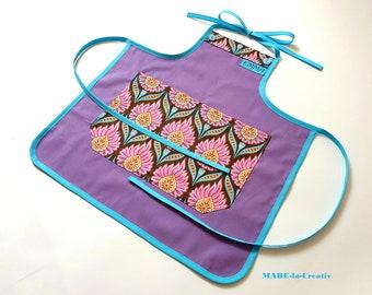 Children's apron with name, BLUMEN, purple turquoise