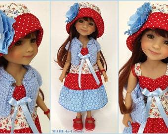 Doll clothes Ruby Red, Set BELLA, red blue flowers, UNIQUE