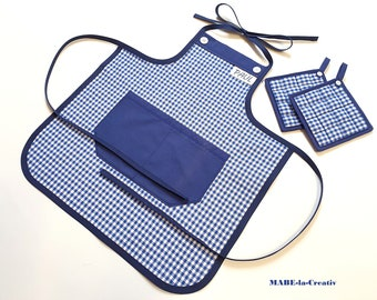 Kids apron with name + pot holders - blue white checkered - children's apron baking apron cooking apron