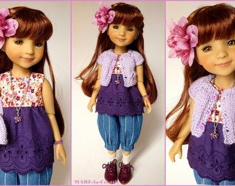 Doll clothes Ruby Red, Set BELLA, purple blue, UNIQUE