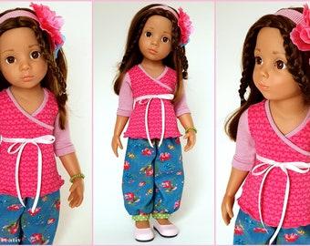 Doll clothes GÖTZ, set CLARA, pink light blue flowers