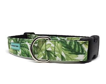 Jungle Garden Dog Collar | Tropical Greenery Collar | Available in 4 widths