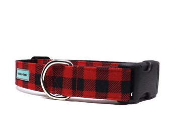 Check Please - Buffalo Plaid Dog Collar | Red and Black Check Dog Collar Available in 4 widths