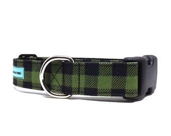 Check Please - Buffalo Plaid Dog Collar | Green and Black Check Dog Collar Available in 4 widths