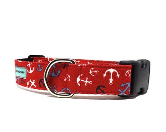 Anchor Toss - Red | Nautical Blue, White and Black Anchor Dog Collar | Available in 4 widths