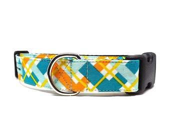 Hadley Plaid | Teal, Yellow and Orange Dog Collar | Available in 4 widths