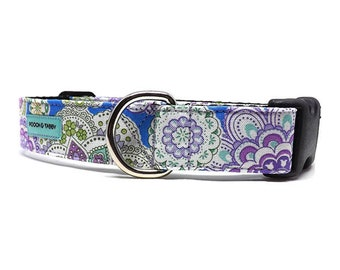 Mandala Floral Dog Collar | Purple, Green and Yellow Dog Collar | Available in 4 widths