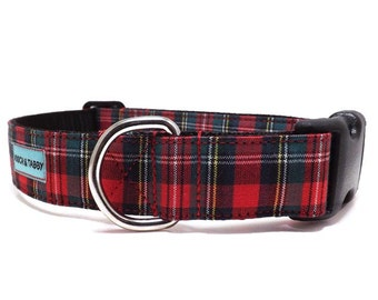 Red and Green Small Plaid Dog Collar | Available in 4 widths | Christmas & Winter Holiday Collar