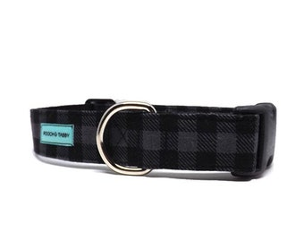 Check Please - Buffalo Plaid Dog Collar | Grey and Black Check Dog Collar Available in 4 widths