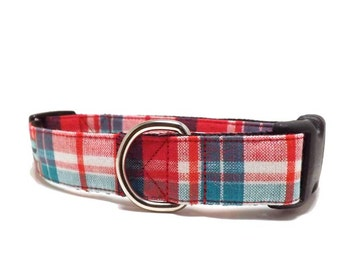 Santa Fe Plaid - Dog Collar | Red, White, Turquoise, Blue Plaid Collar Available in 4 widths