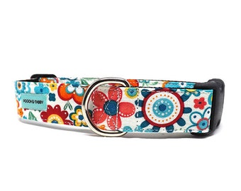 Flower Power Dog Collar | Bright Colourful Floral Collar | Available in 4 widths