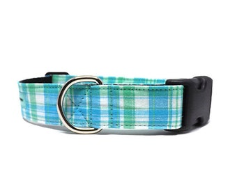 Charleston Plaid | Light Blue and Green Dog Collar | Available in 4 widths