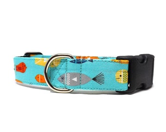 Go Fish - Dog Collar | Bright Turquoise Fish Collar | Available in 3 widths