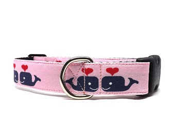 Whales In Love Dog Collar | Whales and Hearts Dog Collar | Available in 3 widths