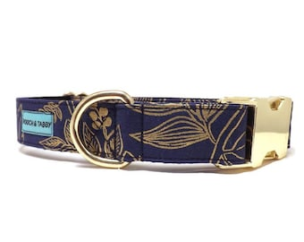 """Rifle Paper Co Golden Meadow Dog Collar   """"Queen Anne"""" Metallic Gold Floral Fabric Collar   Available in 4 widths"""