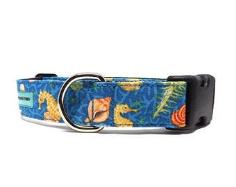Under The Sea Dog Collar | Seahorse and Seashell Underwater Collar | Available in 3 widths
