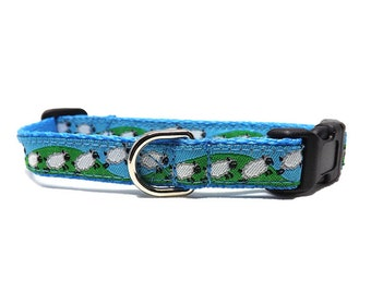 "Peep's Sheep - Dog Collar  | Jumping Sheep 1/2"" Collar for Mini, Teacup and Toy Breeds"