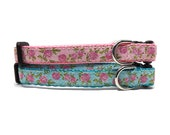 Littlest Rose - Dog Collar Pink or Turquoise 1 2 quot Collar for Mini, Teacup and Toy Breeds