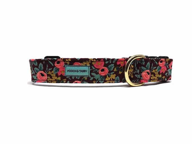 Available in 4 widths Rifle Paper Co Garden Party Floral Dog Collar Rosa Burgundy /& Metallic Gold NEW