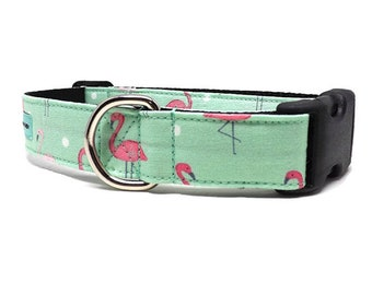 Flamingo Fever | Flamingo Design Dog Collar | Available in 3 widths