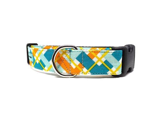 Hadley Plaid   Turquoise, Orange et jaune collier de chien   Disponible en 4 largeurs
